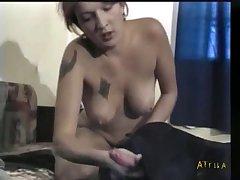 Girl handjob dog massive cumshot
