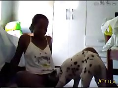1603 Amateur Webcam Black Teen With Dog