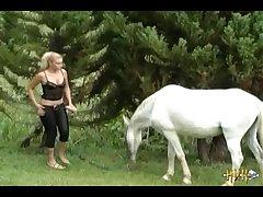 Cute Blonde Fucks Dildo And Sucks Horse (part 2)