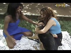 Two Chicks Tagteam Dog (part 1)
